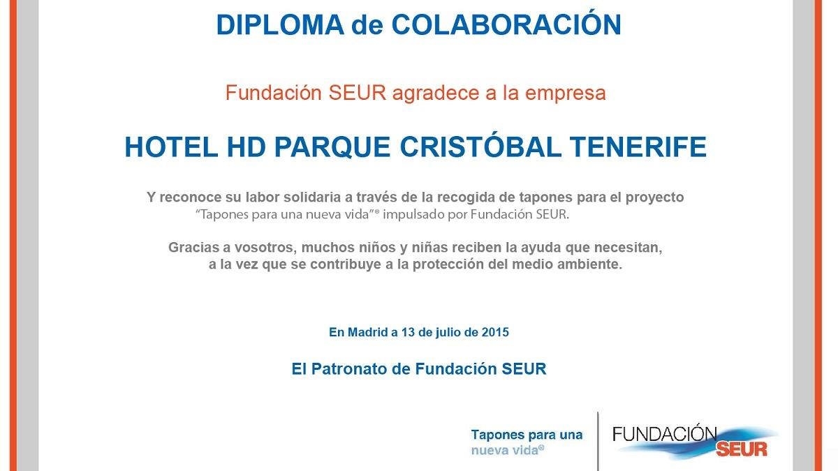 HD Parque Cristóbal Tenerife vuelve a recibir un diploma de la Fundación Seur